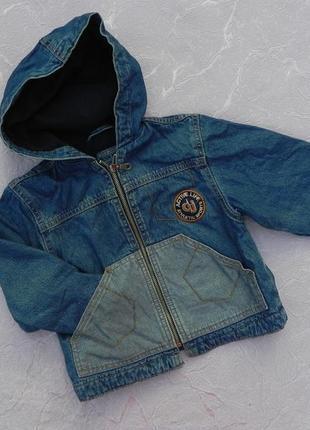 Куртка курточка джинсовая на флисе denim 2 года 92 см