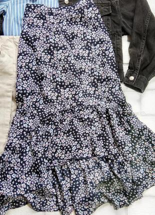 Трендовая миди юбка с воланами от h&m