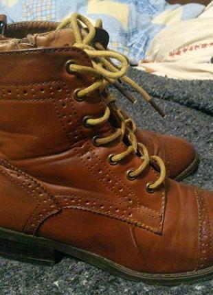 Ботинки полусапожки коричневые new look
