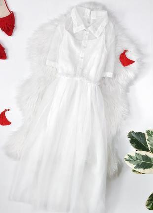 Ніжна білосніжна сукня міді