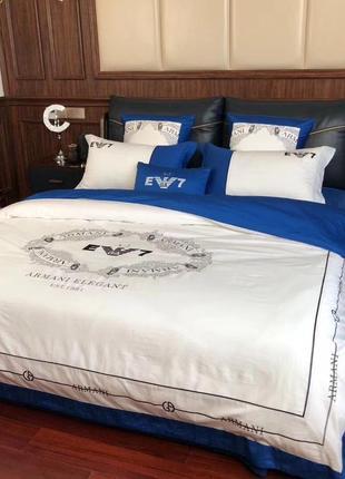 Комплект постельного белья белый с синим хлопок с вышивкой