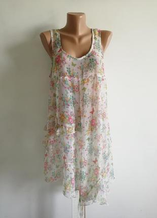 f9d55054324 👑нежное полупрозрачное ассиметричное платье в цветочный принт 👑пляжное  платье с оборками
