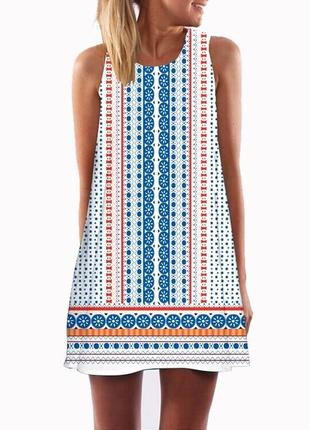 Новое трэндовое свободное летнее платье в креативный принт