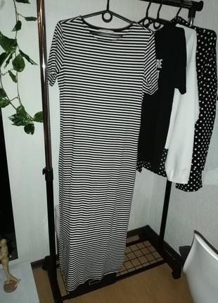 Платье в рубчик полоска черно-белое
