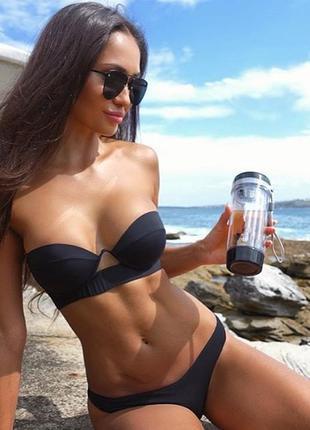 Купальник раздельный бикини плавки бразилиана чёрный