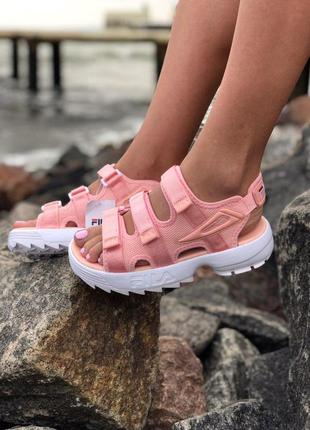 Нереально удобные и красивые женские сандалии fila в розовом цвете (весна-лето-осень)😍