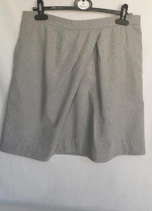 Короткая светло-серая юбка с защипами, с карманами 100%хлопок, р.44-eu, xl-xxl, от cos
