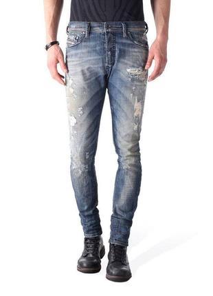 Винтажные рваные джинсы diesel (италия), синего цвета (tepphar 0830k)
