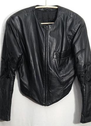 Ferre gianfranco, куртка винтаж кожаная черная короткая жакет пиджак, made in italy