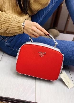 Клатч, сумка через плечо david jones 5016 серебряно-красный