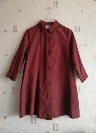 Длинная рубашка цвета марсала