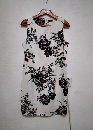 """Льняное платье """" цветастое """" большого размера"""