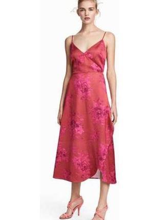 Сатиновое платье на запах в цветочный принт h&m p.46