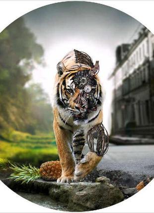 Пляжный коврик полотенце мандала  тигр