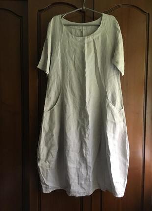 Льняное платье миди с небольшим рукавчиком