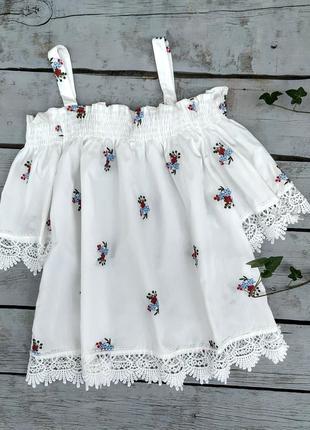 Лёгкая блуза свободного кроя с открытыми плечами, блуза , топ, цветочный принт
