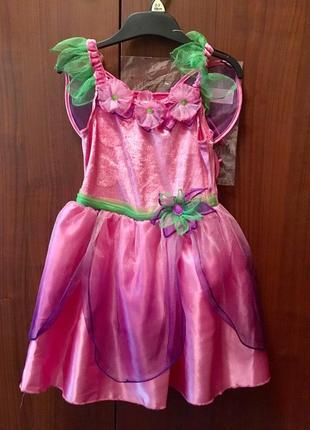 Розовое платье нарядное праздничное костюм бабочки цветка