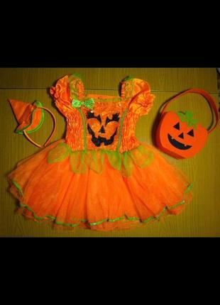 Оранжевое платье тыквы тыковки на хэллоуин halloween для фотосессии