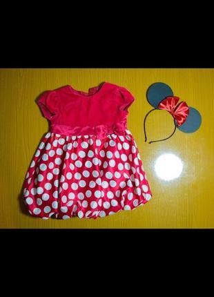 Малиновое розово-красное платье в горошек минни микки маус нарядное