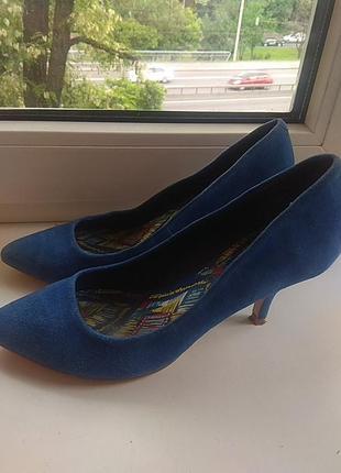 Туфли, лодочки небесно голубые, замш)