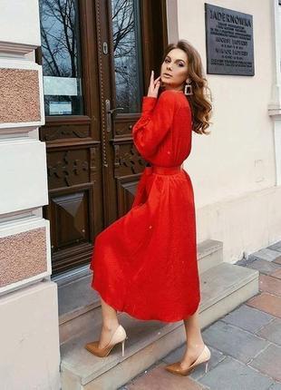 Красное платье миди h&m