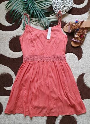 Красивый летний натуральный сарафан платье на бретелях с кружевом
