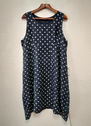 """Итальянское льняное платье """" горошинка """" большого размера"""