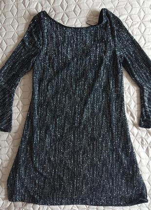 Коктейльное черное платье нарядное с люрексом трапеция f&f