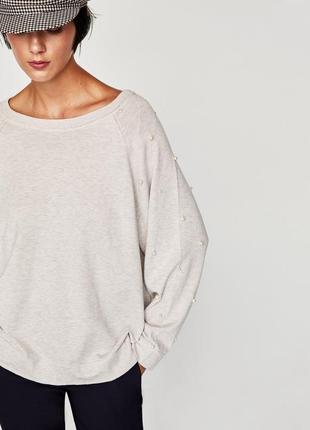 Oversize свитер zara усыпан жемчугом