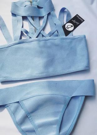 Роскошный  премиум бандажный купальник сет комплект голубой boohoo s