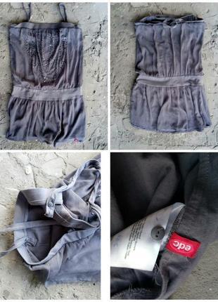 Серое шифоновое летнее платье короткое, мини