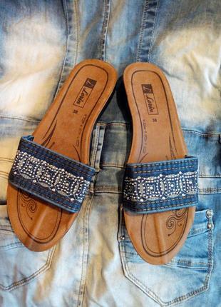 Новинка! турецкие джинсовые шлёпанцы!)