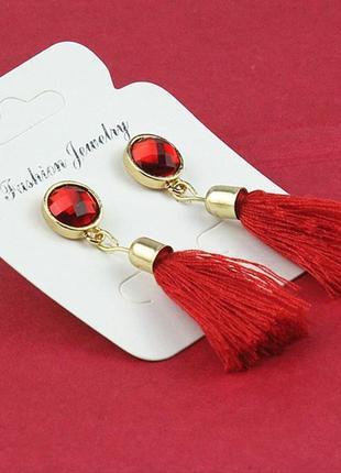Распродажа! нарядные вечерние красные длинные серьги гвоздики китички кисточки бижутерия