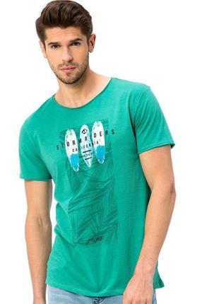 Зеленая мужская футболка lc waikiki / лс вайкики с надписью storm rides california