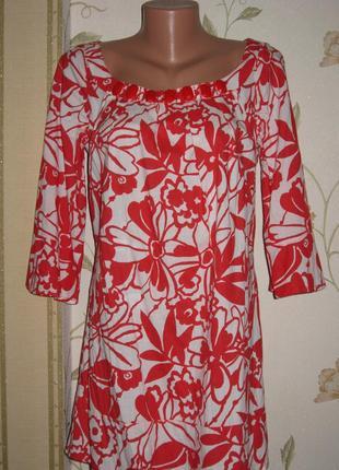 Красивая туника платье блуза красно-белый цветочный принт