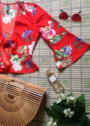 Блуза кроп топ кимоно баска расклешенный рукав бохо цветы