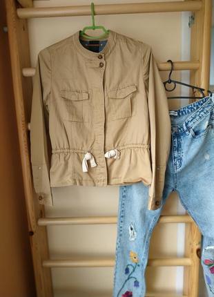 Хлопково-лёновая куртка-жакет ветровка от g-star в цвете кемел с затяжкой и на стоику