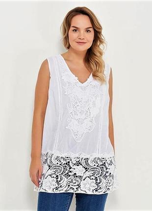 Женская белая кружевная пляжная туника из хлопка indiano, fresh-cotton код 310 f, l-3хl