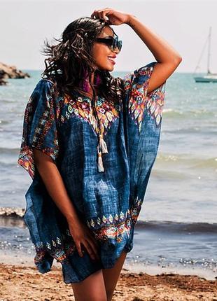 Женская синяя пляжная туника платье из хлопка батиста можно для беременных код 1134