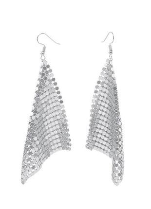 Серьги кольчуга, сережки сетка серебро по супер цене!
