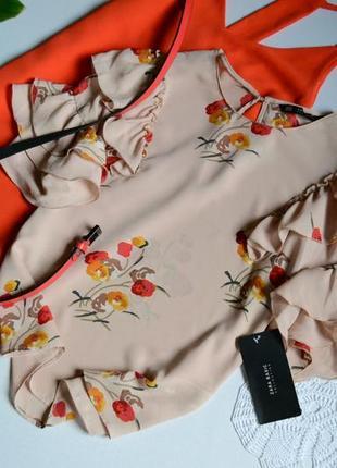 Zara блуза тілесна в квіти