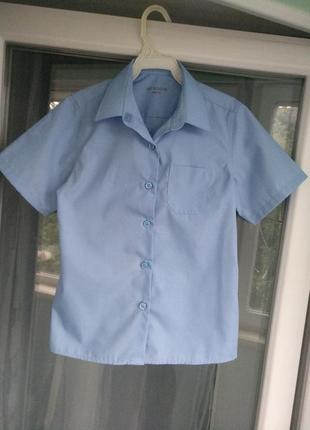 Блузка-рубашка m&s school slim fit девочке 6-7 лет, разм.122, школьная голубая