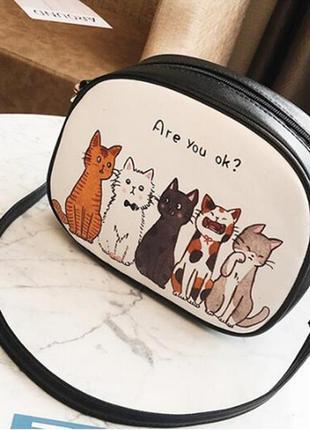 Большой выбор! новая модная крутая овальная круглая сумка сумочка коты котики кот