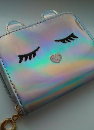 Есть варианты! новый крутой лаковый серебристый короткий кошелек на молнии котик кот