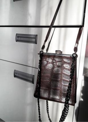 Англия винтажная маленькая сумка крокодил на ремешке в стиле celine
