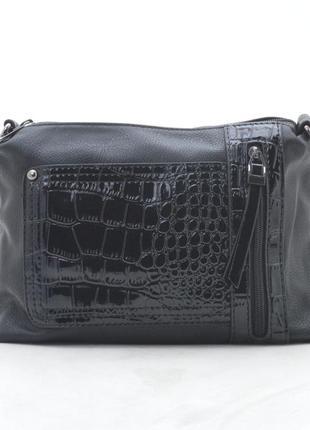 Клатч, сумка через плечо с лаковой вставкой 91620 черный