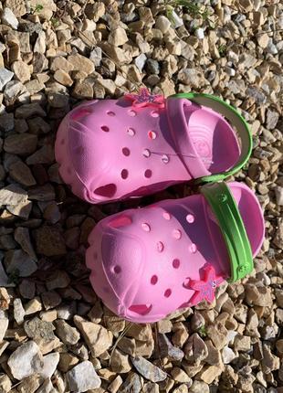 Кроксы - сабо для девочки от 5-10 лет, розвого цвета3 фото