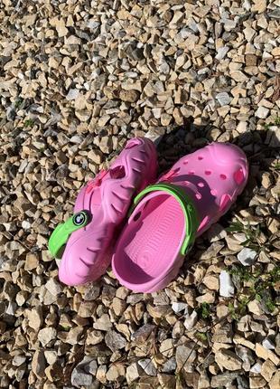 Кроксы - сабо для девочки от 5-10 лет, розвого цвета5 фото