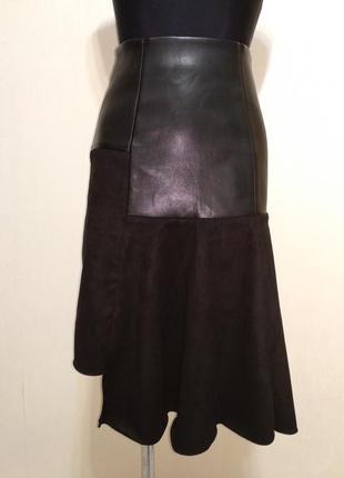 Стильная юбка экокожа с асимметричным низом addictive merchandise