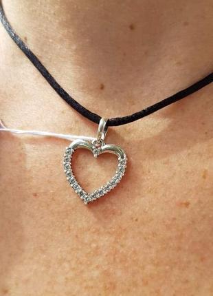 Серебряная подвеска сердце
